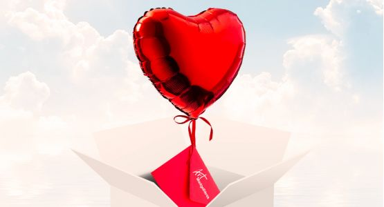 Send your ticket with a heart-shaped balloon