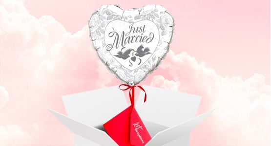 Send your ticket with a balloon 'Just married'